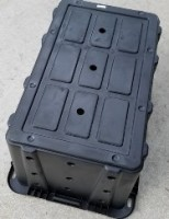Image showing location of base drain holes added to a plastic tote in converting it into a BSF Propagation Bioreactor